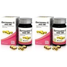 Витамин E 400 ME (dl-альфа-токоферола-ацетат), 2 упаковки по 30 капсул, 570 мг