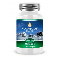Norwegian Fish Oil Омега-3, 1000 мг, 60 капсул