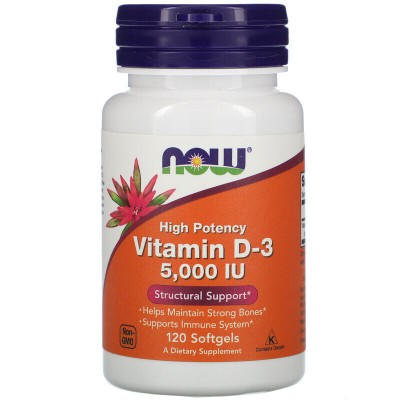 Now foods Vitamin D-3 5000 IU, 120 капсул