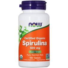 Спирулина Now Foods Spirulina 500 мг, 100 таблеток