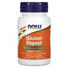Now Foods,   для поддержки желудочно-кишечного тракта, Gluten Digest, добавка для переваривания глютена, 60 растительных капсул
